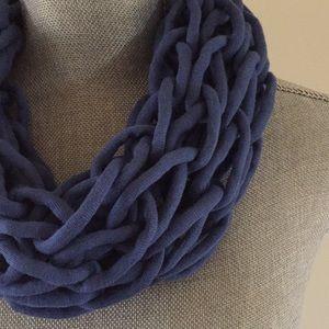 Slate blue handmade arm knit infinity scarf